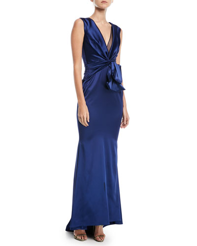 Polis Sleeveless Draped Satin Gown