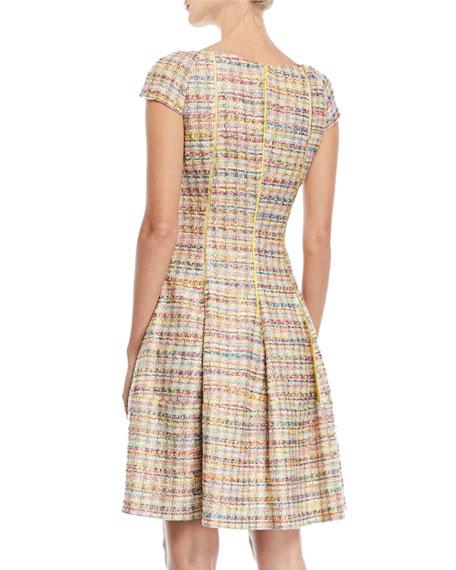 Cap-Sleeve Metallic Tweed Fit-And-Flare Dress