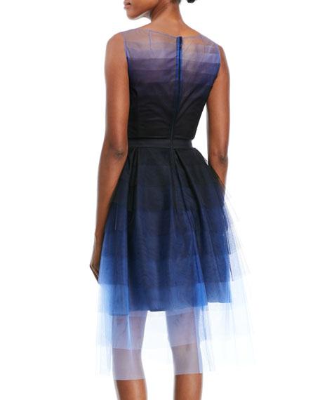 Poemas Sleeveless Embellished-Belt Dégradé Tulle Cocktail Dress