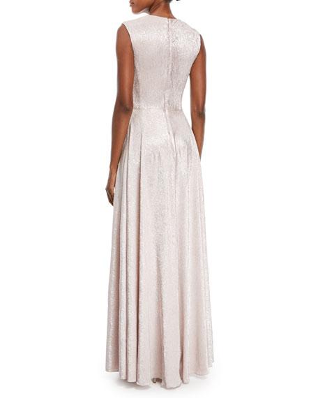 Koro Drape-Waist Metallic Gown