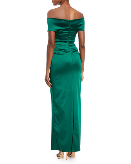 Poe2 Crossover Satin Evening Gown
