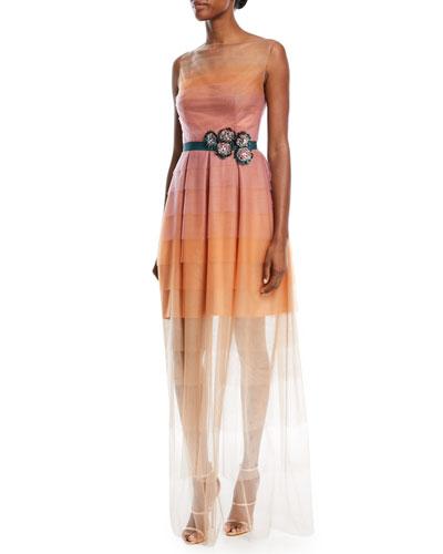 Poemas Layered Dégradé Tulle Evening Gown