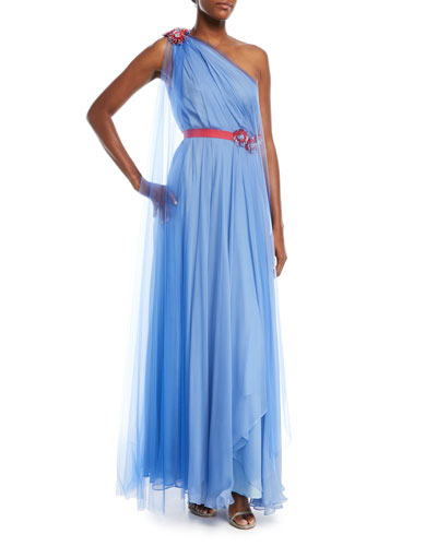 One-Shoulder Draped Tulle Evening Gown