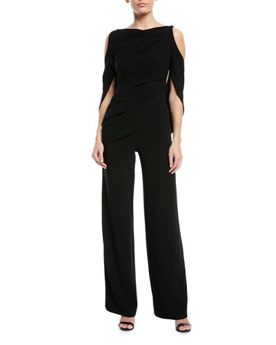 Lace-Back Draped Wide-Leg Crepe Jumpsuit