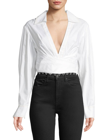 Plunging Wrap-Front Cotton Poplin Shirt