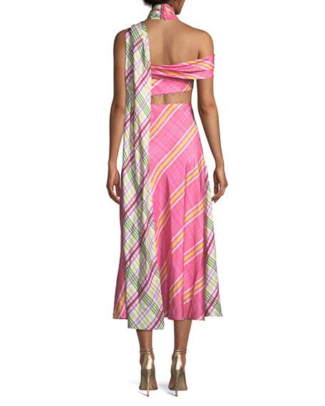Asymmetric Plaid Combo Wrap Silk Dress w/ Attached Scarf