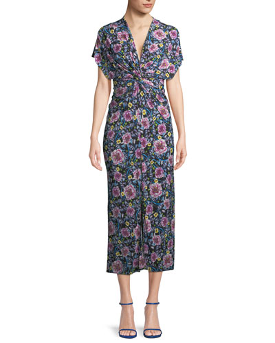 V-Neck Cap-Sleeve Twist-Waist Floral-Print Dress