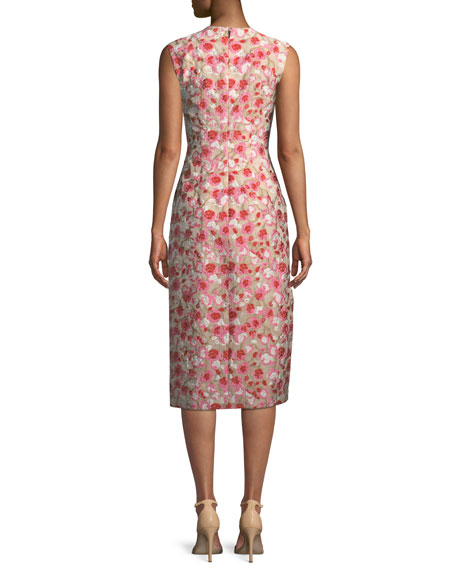 Sleeveless Jewel-Neck Floral-Matelassé Sheath Dress