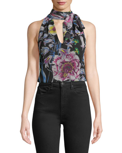 V-Neck Sleeveless Floral-Print Blouse with Scarf