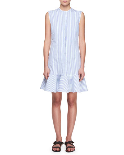 Button-Down Sleeveless Striped Poplin Dress with Flounce Hem