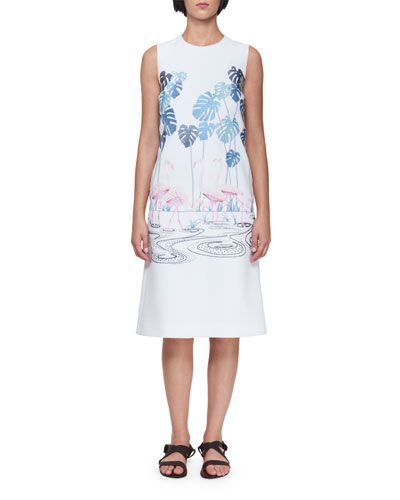 Sleeveless A-Line Midi Dress with Flamingo Flock & Palm Trees