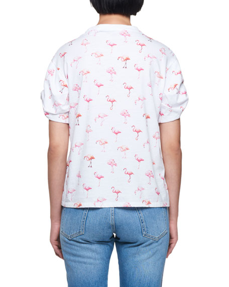 Flamingo-Print Crewneck Short-Sleeve Cotton T-Shirt