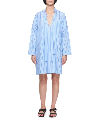 Tie-Neck Long-Sleeve Striped Cotton Dress
