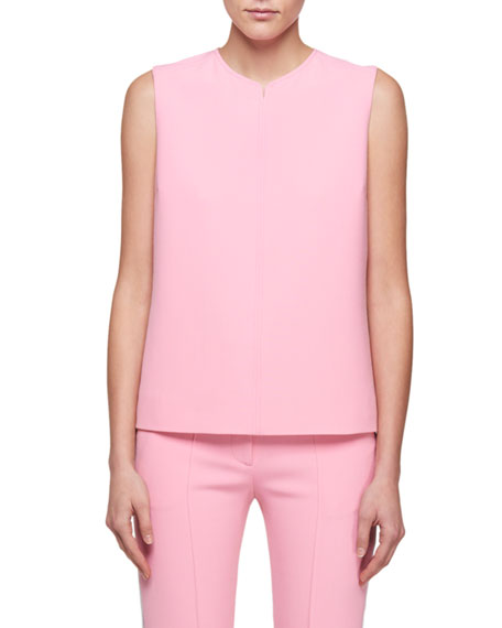 Image 1 of 2: Round-Neck Sleeveless Crepe Top