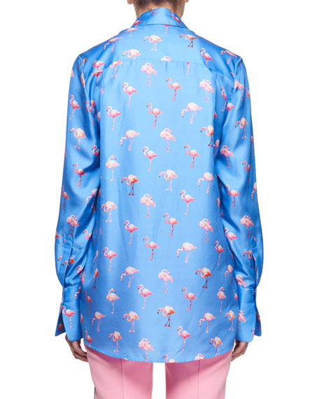 Flamingo-Print Button-Front Long-Sleeve Silk Shirt