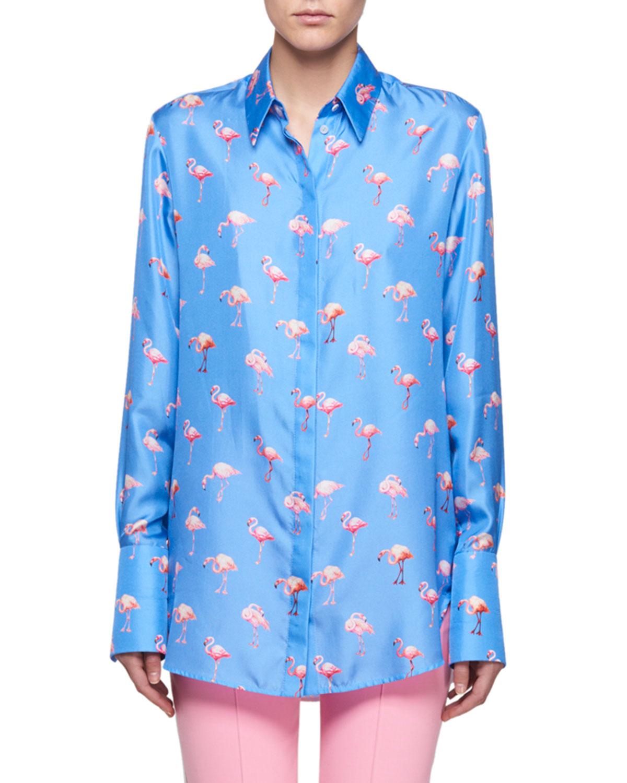 d49aecf03fa7d Victoria Victoria BeckhamFlamingo-Print Button-Front Long-Sleeve Silk Shirt
