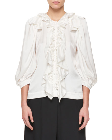 Puff-Sleeve Silk Blouse with Ruffle Detail