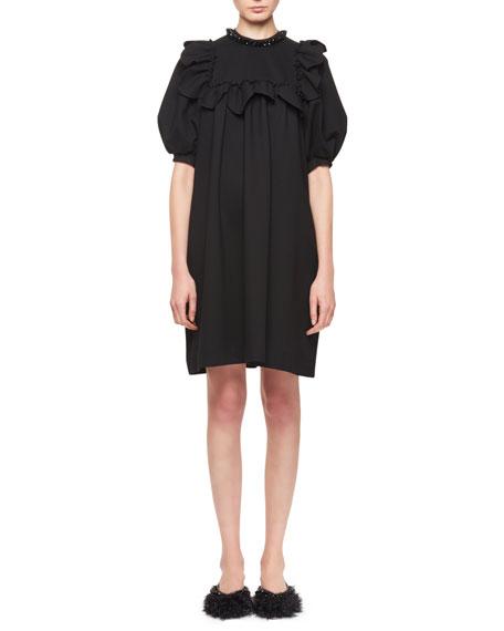 Bead-Neck Mini Shift Dress