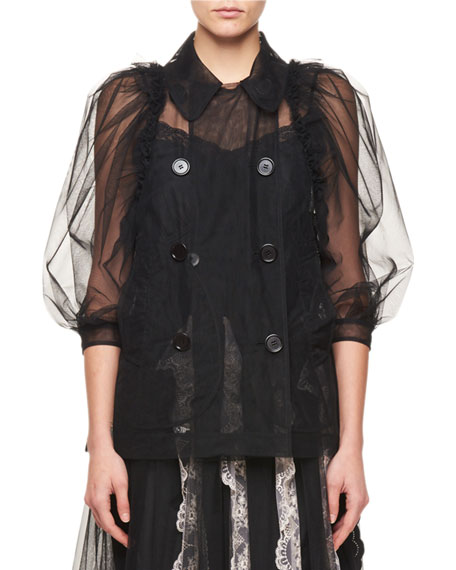 Simone Rocha Double-Breasted Puff Elbow-Sleeves Sheer Top and