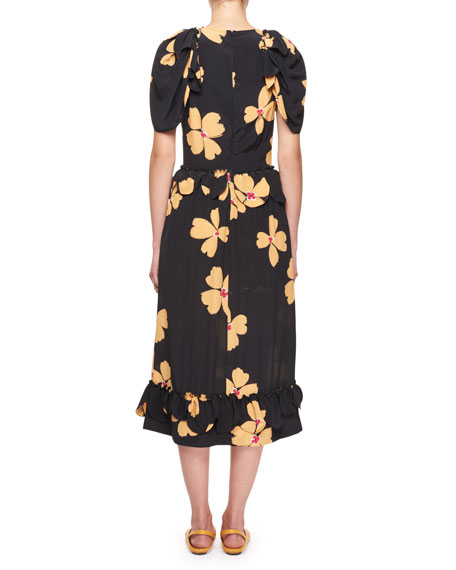 Floral-Print Crepe de Chine Midi Dress