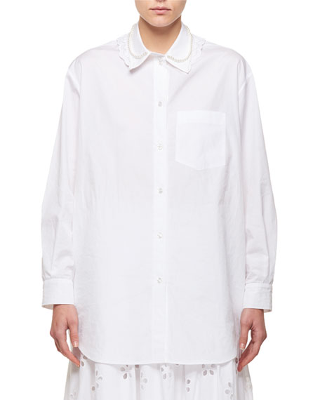 Oversize Bead-Collar Shirt