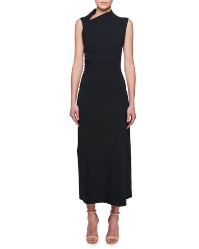 Sleeveless Cowl-Neck Shirred-Sides A-Line Dress