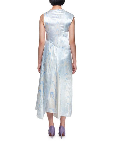 Sleeveless Satin Moiré Print Asymmetric Drape Midi Dress