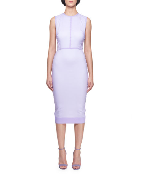 Sleeveless Crewneck Fitted Dress with Organza Overlay