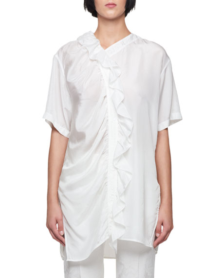 Short-Sleeve Ruffle Long Silk Top with Side Slits