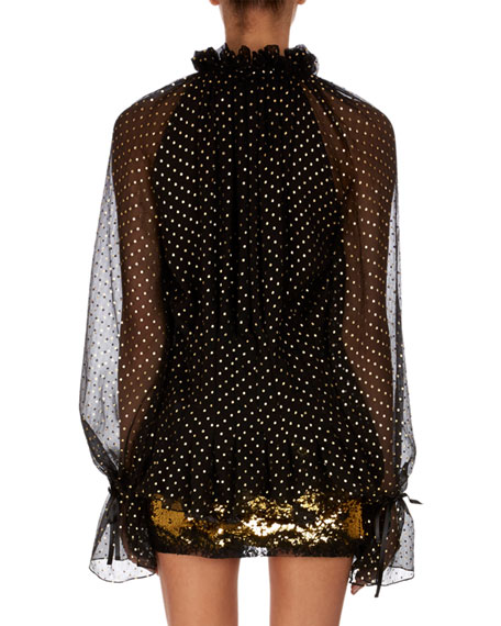 Plunging Tie-Front Metallic Dot-Print Silk Blouse