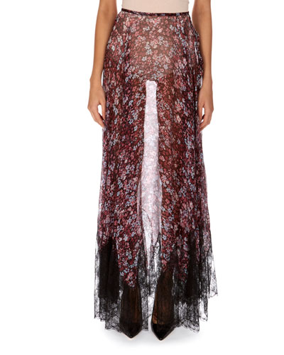 Sheer Floral-Print Silk Skirt with Lace Hem
