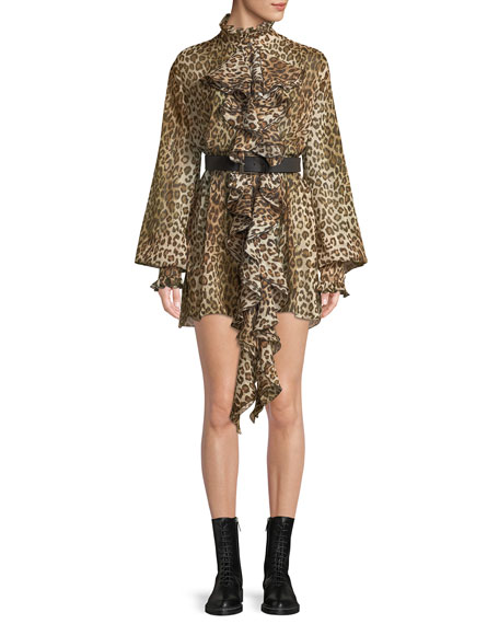 Long-Sleeve Leopard-Print Ruffled Crepon Tunic