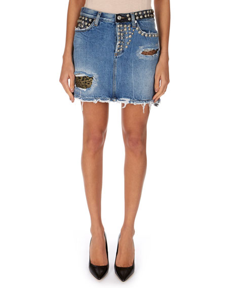 Distressed Denim Skirt w/ Patches & Studs
