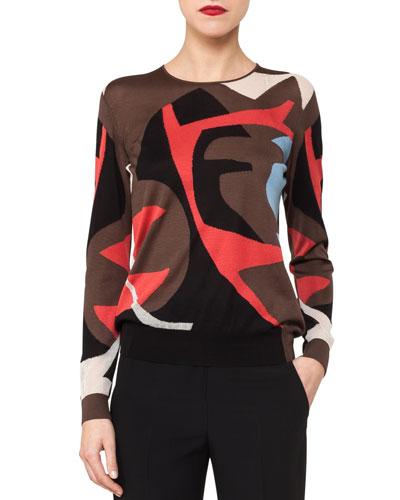 Crewneck Long-Sleeve Intarsia Knit Pullover