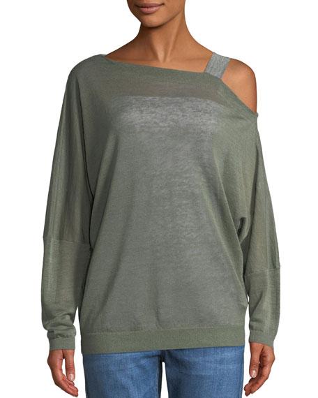 One-Shoulder Long-Sleeve Linen Sweatshirt