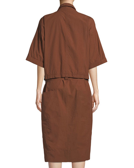 Half-Sleeve Button-Down Belted Safari Poplin Dress