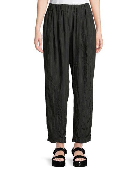 Wide-Leg Striped Pull-On Pants