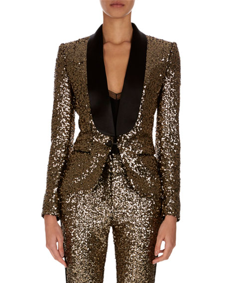 Shawl-Collar One-Button Golden Paillettes Blazer