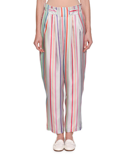 Multicolor Striped Pleated Wide-Leg Trousers