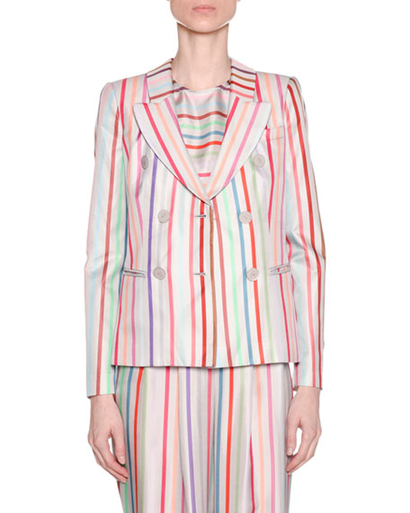 Emporio Armani Multicolor Striped Pleated Wide-Leg Trousers and