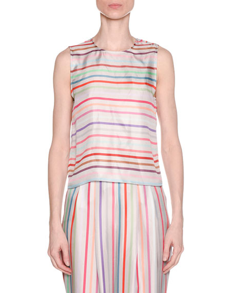 Multicolor Horizontal Striped Twist-Back Silk Shell