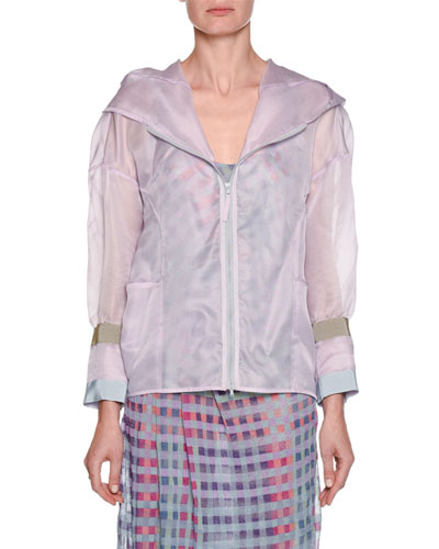 Silk Organza Zip-Front Hooded Anorak Jacket