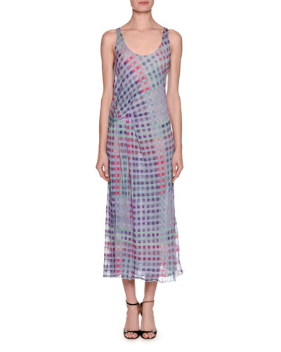 Multicolor Plaid Graphic Tank Dress