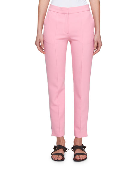Slim Straight-Leg Wool-Blend Pants with Side Stripe