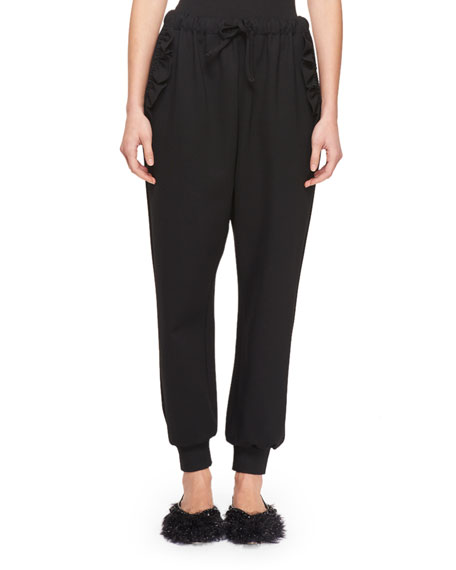 Ruffled Stretch-Jersey Track Pants in Black