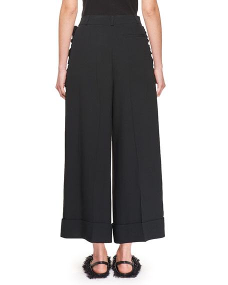 Cropped Ruffle-Trim Pants