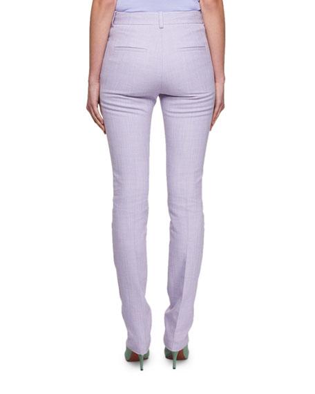 Slim Straight-Leg Mélange Slub Pants