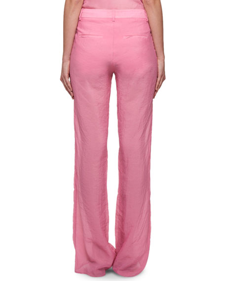 Wide-Leg Crushed Sheer Muslin Half-Lined Pants