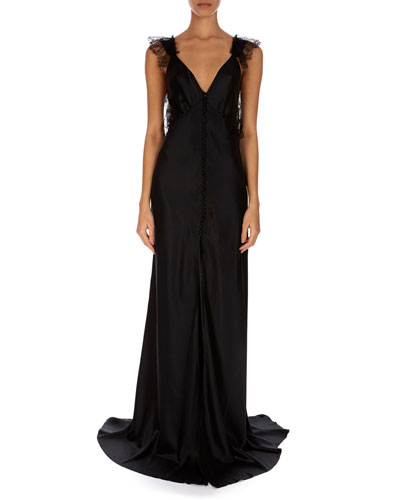 V-Neck Sleeveless A-Line Silk Evening Gown w/ Covered Buttons