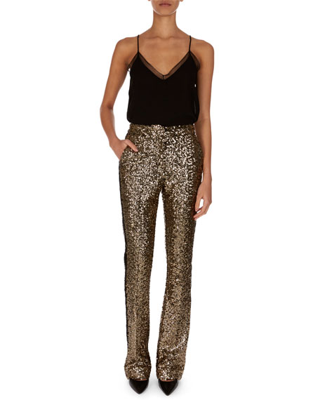Golden-Paillettes Straight-Leg Pants w/ Tuxedo Stripe